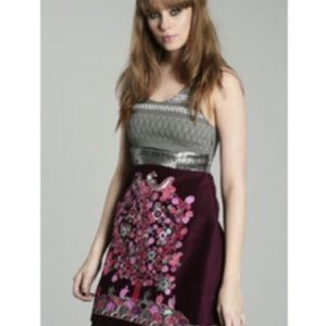 Free People silver & burgundy short beaded dress